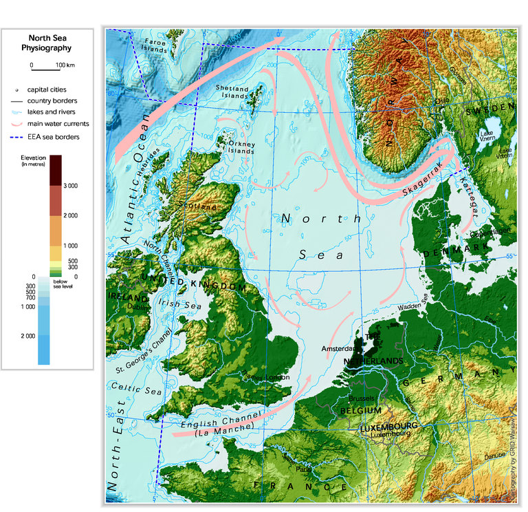 North Sea Europe Map.North Sea Physiography Depth Distribution And Main Currents