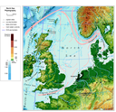 North Sea physiography (depth distribution and main currents)