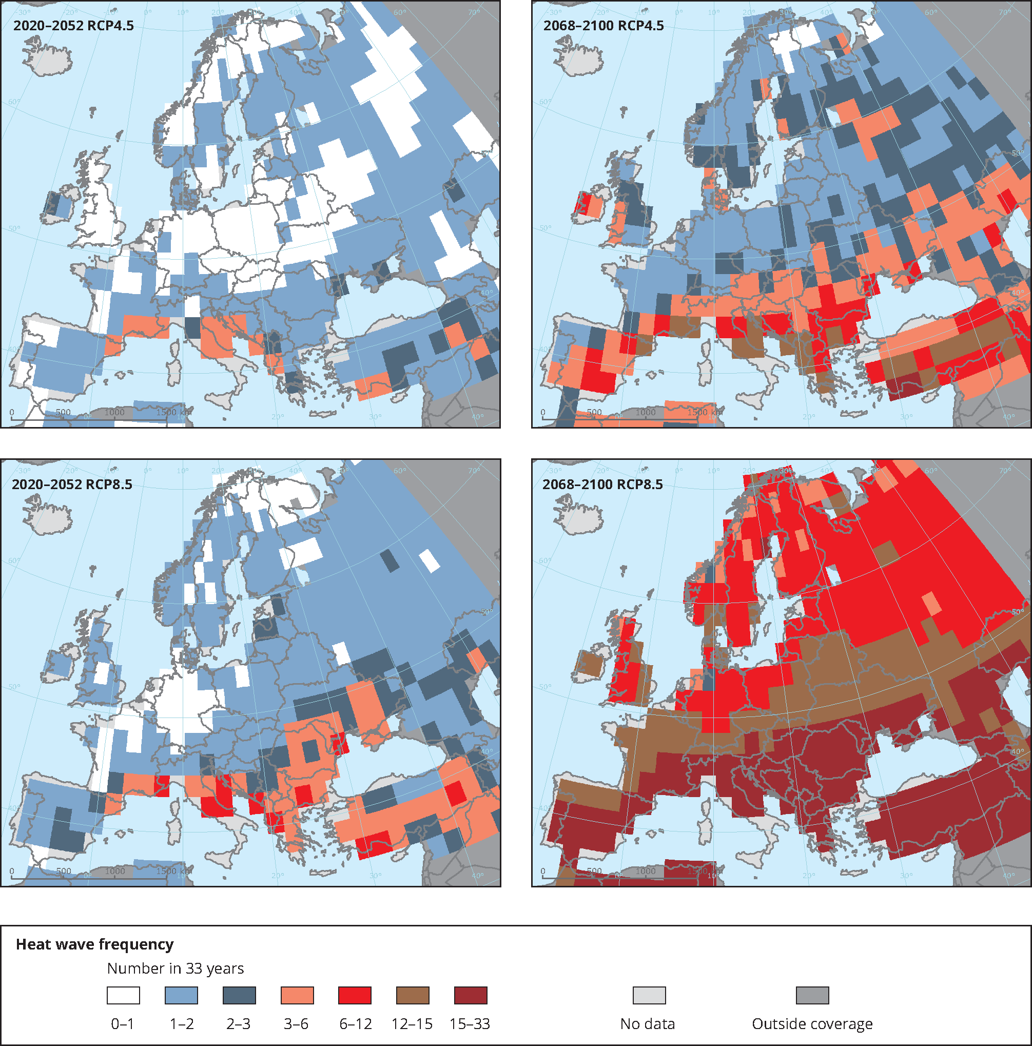 Number of extreme heat waves in future climates under two different climate forcing scenarios