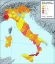 Number of landslides reported in Italy (1998-2001)