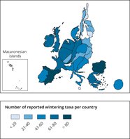 Number of reported wintering taxa per country