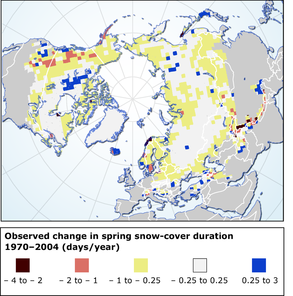 Observed change in spring snow-cover duration 1970-2004