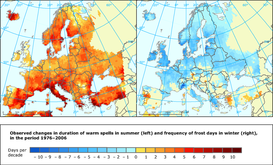 Observed changes in warm spells and frost days indices 1976-2006