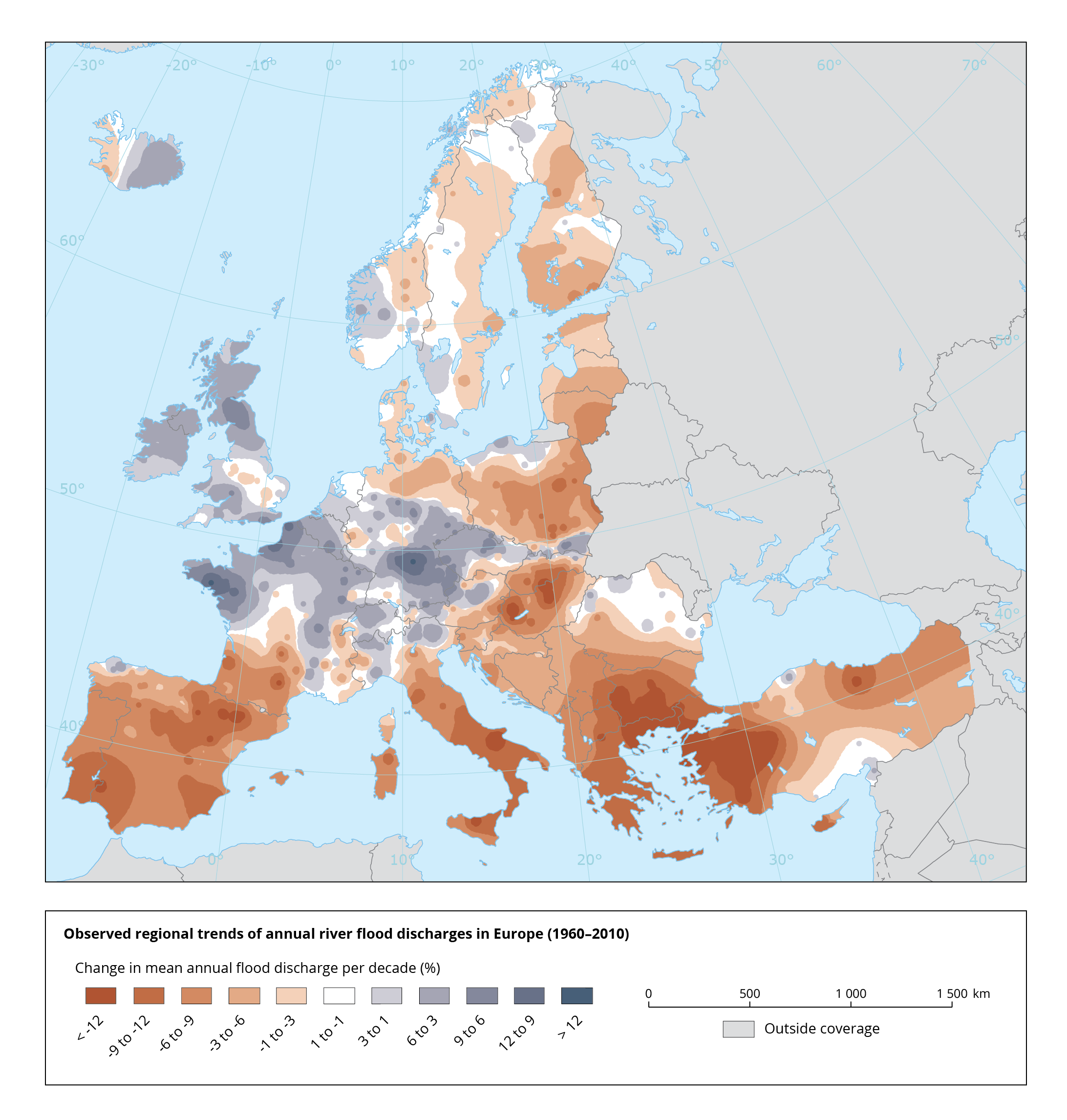 Observed regional trends in annual river flood discharges in Europe (1960–2010)