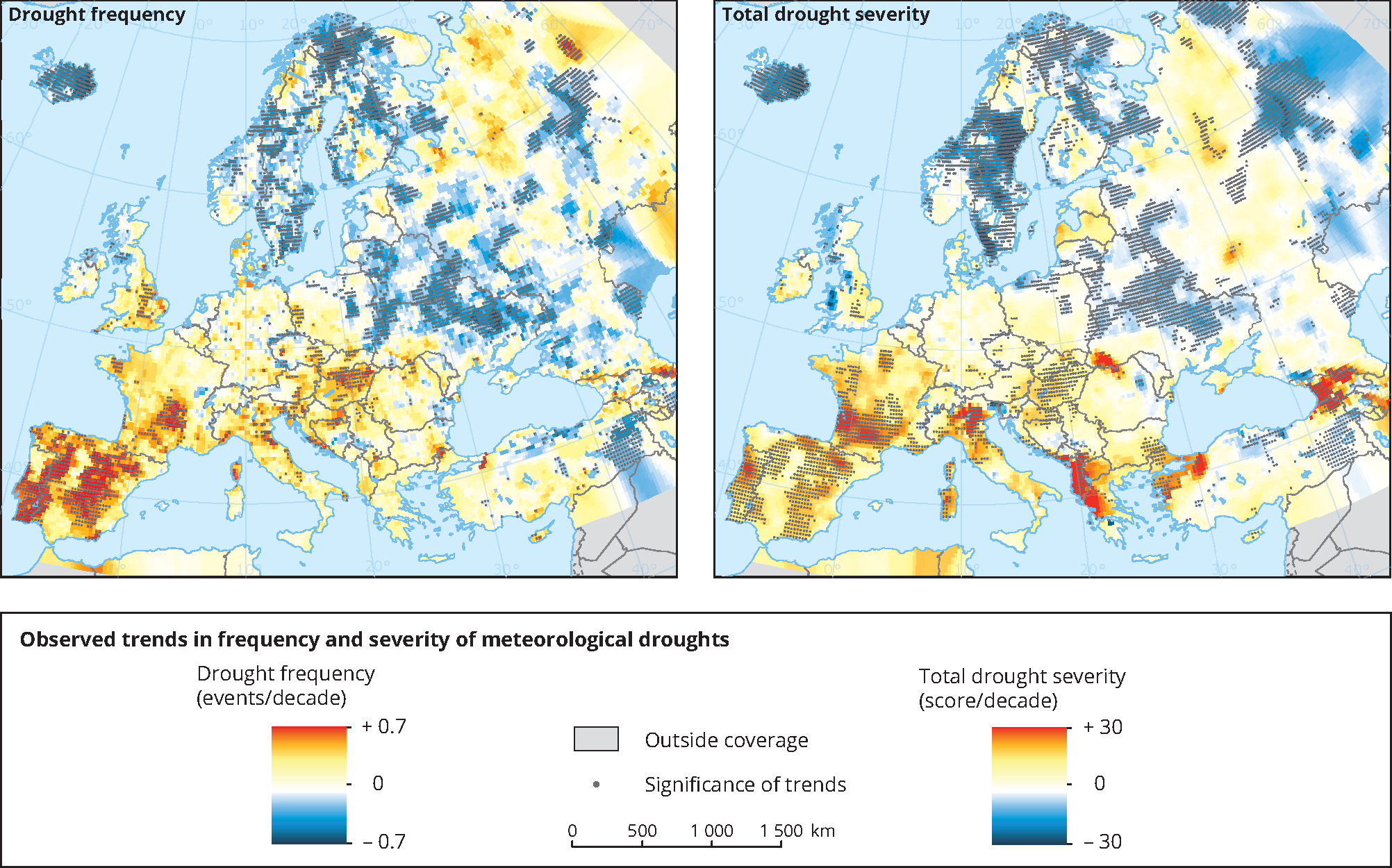 Observed trends in frequency and severity of meteorological droughts