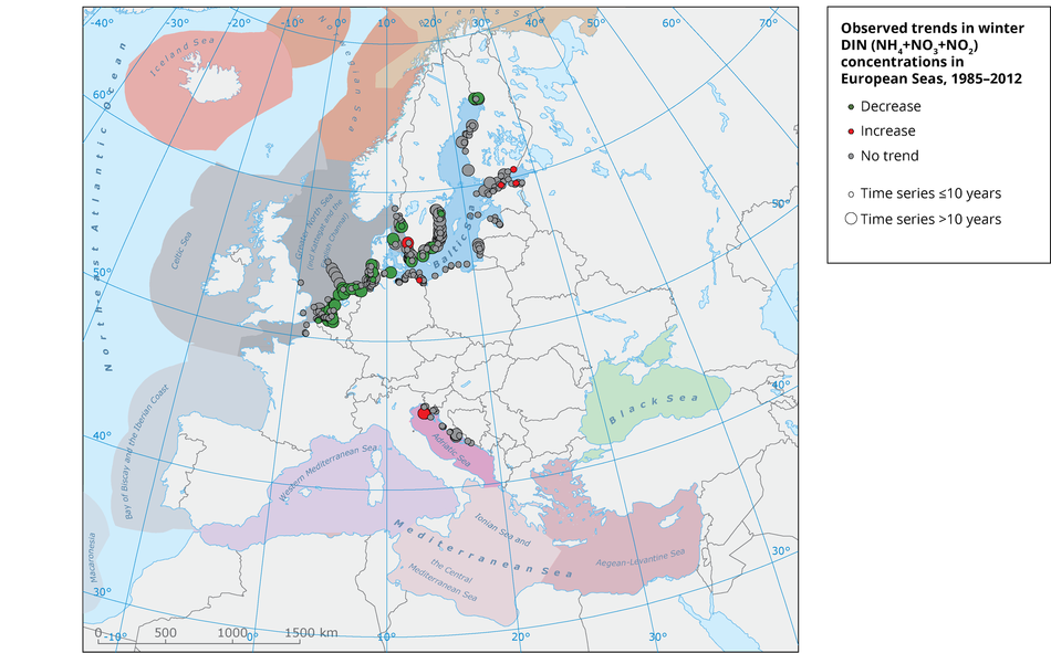 Trends per station in dissolved inorganic nitrogen concentrations in European seas