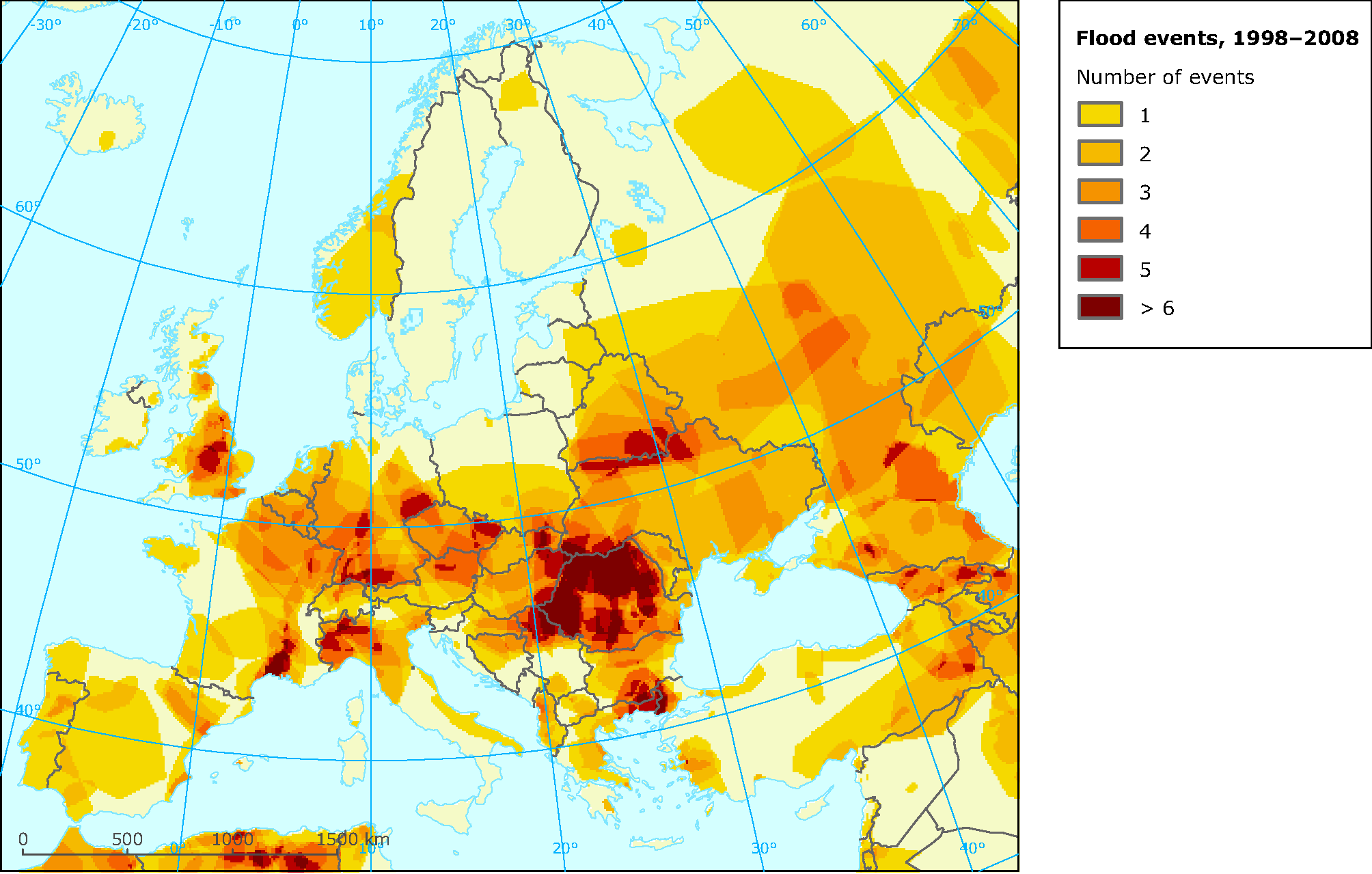 Occurrence of flood events in Europe 1998-2008