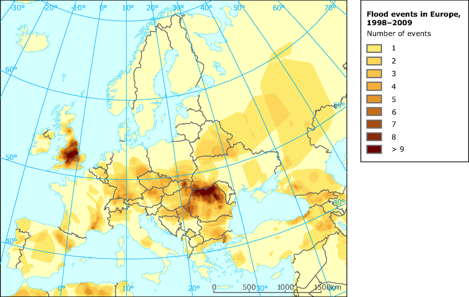 Occurrence of major floods in Europe