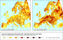 Occurrence of heat wave events with a duration of 7 days (left: 1961-1990 average; right: 2071-2100 average)