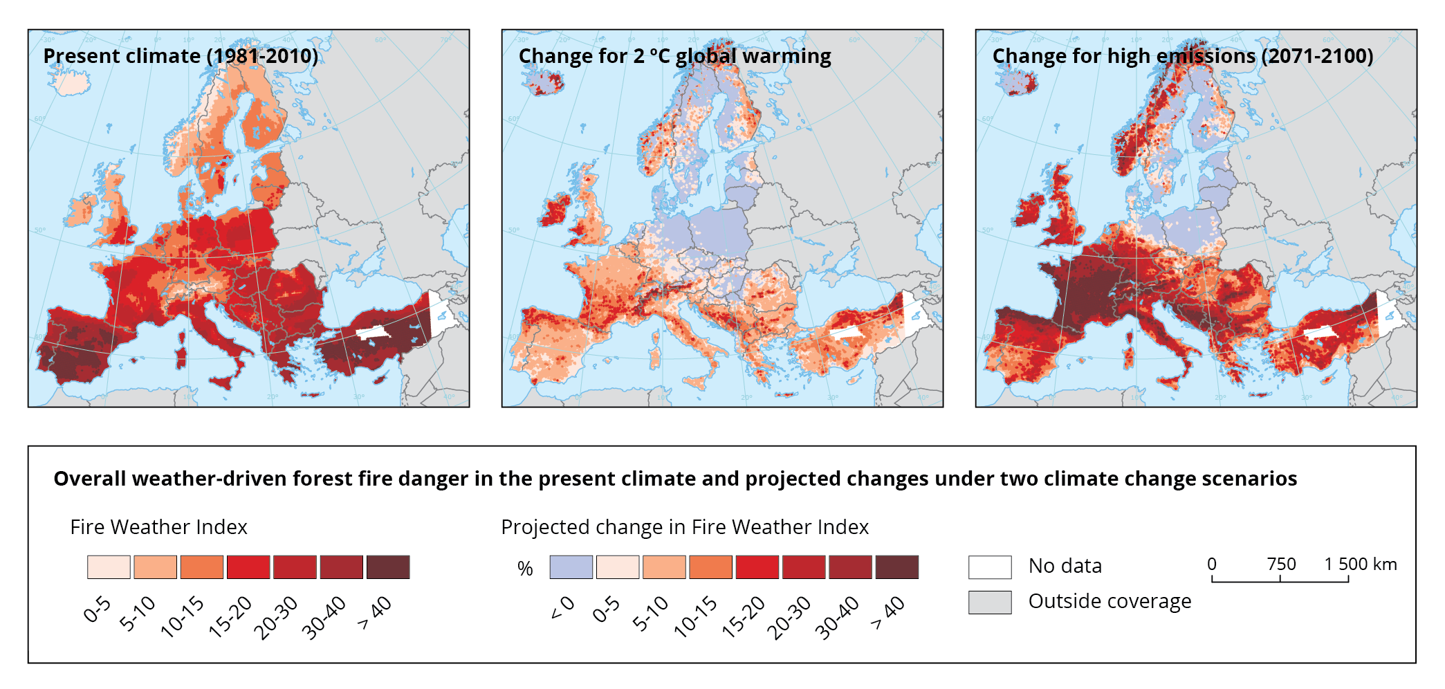 Forest fire danger in the present climate and projected changes under two climate change scenarios
