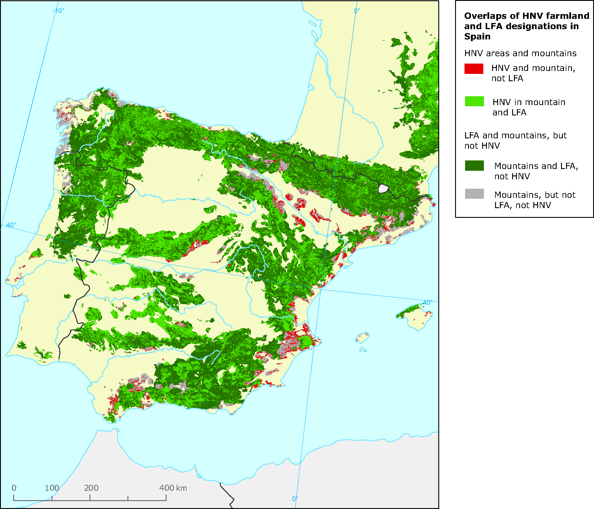 Spain Map Of Europe.Overlaps Of High Nature Value Hnv Farmland And Lfa Designations In