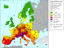 Exposure of European agricultural areas to ozone (AOT40)