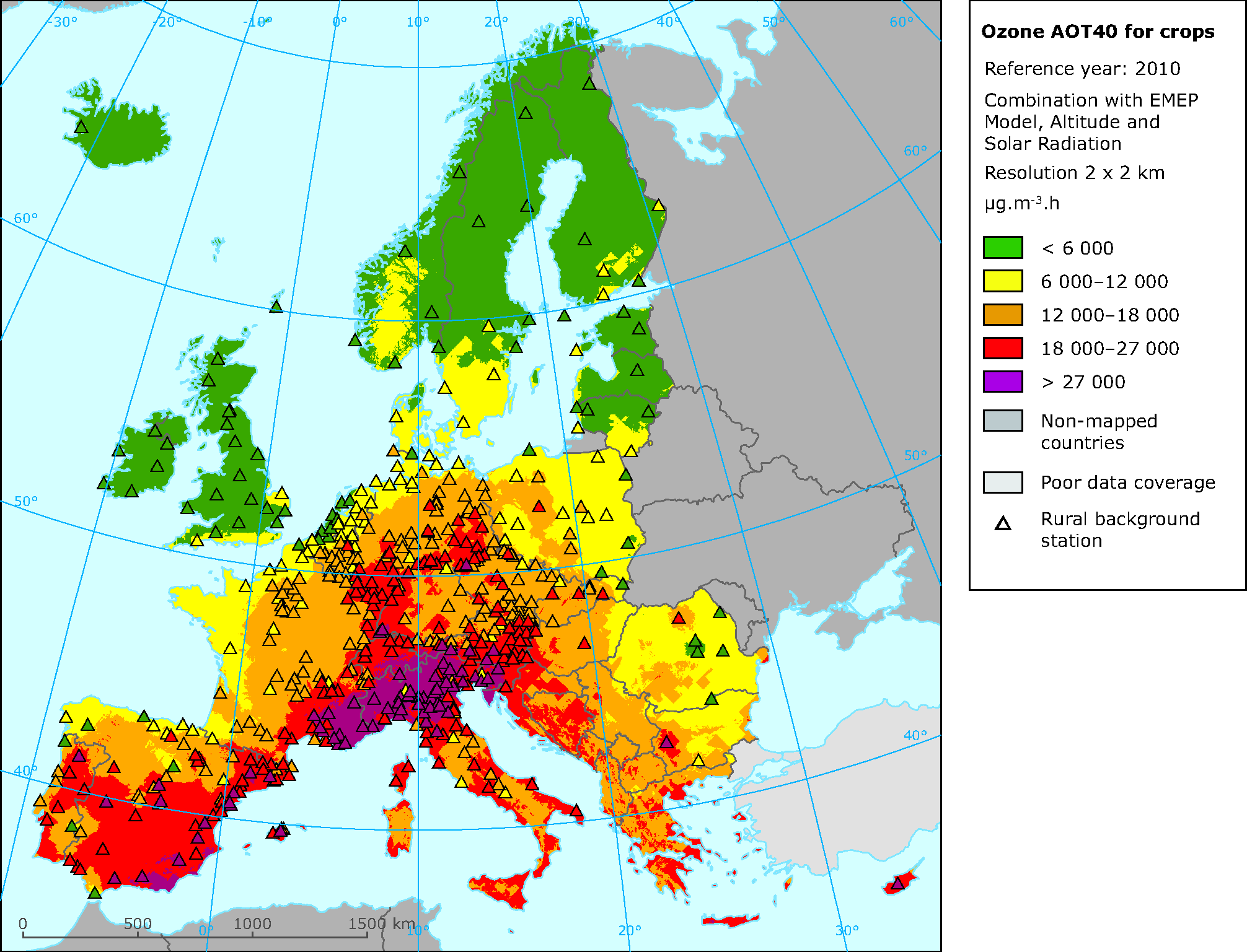 Exposure of European agricultural areas to ozone (AOT40
