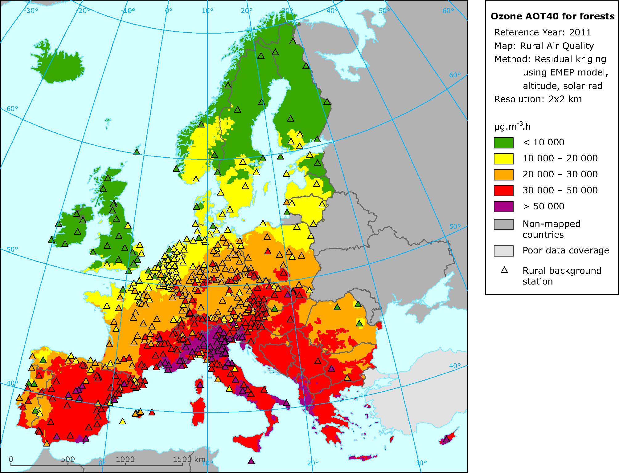 Rural concentration map of the ozone indicator AOT40 for forest in 2011