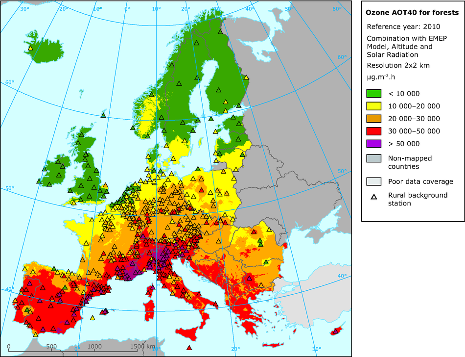 Rural concentration map of the ozone indicator AOT40 for forest in 2010