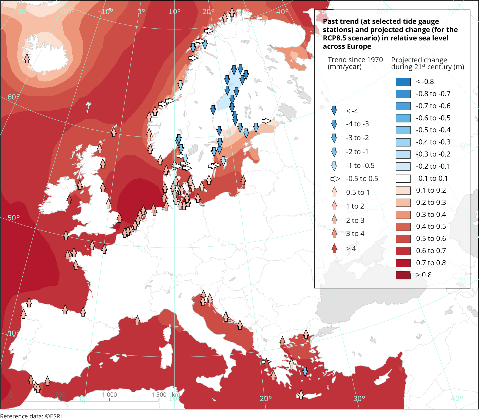 Past trend and projected change in relative sea level across Europe