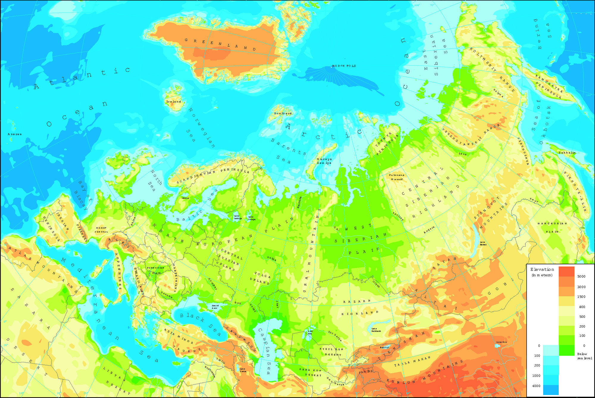 Image of: Physical Map Of Eurasia European Environment Agency