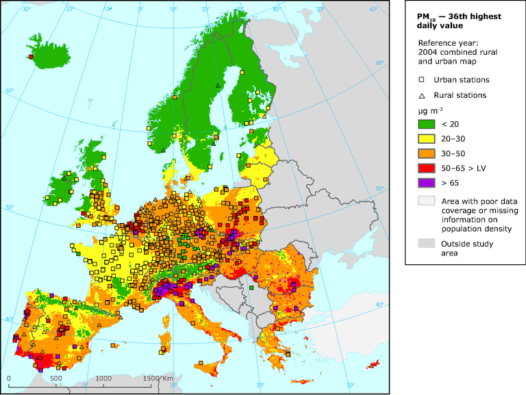 air pollution in europe map figure 3.14 air pollution 1990 2004.eps — European Environment Agency