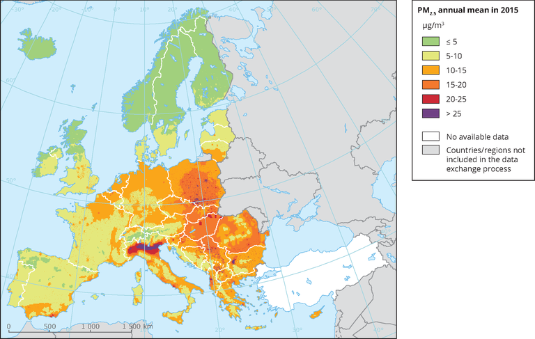PM2 5 annual mean in 2015 — European Environment Agency