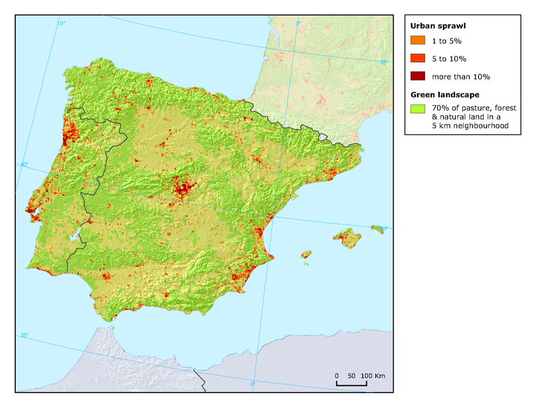 Coast Of Spain Map.Polarised Urban Sprawl Around Major Cities And The Coast Of Portugal