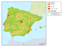 Polarised urban sprawl around major cities and the coast of Portugal and Spain(1990-2000)