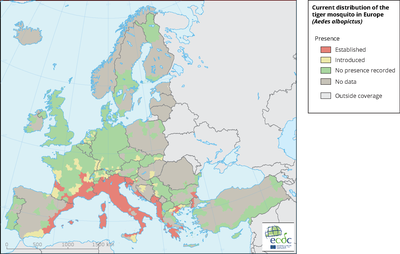 Known distribution of the tiger mosquito in Europe (Aedes albopictus)