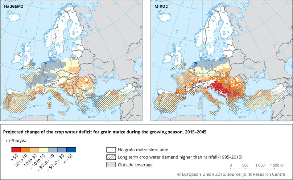 Projected annual rate of change of the crop water deficit of grain maize during the growing season in Europe for the period 2015-2045 for two climate scenarios.