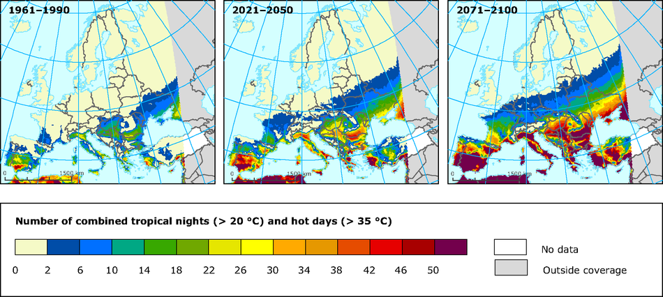 Projections of extreme temperatures as represented by the combined number of hot summer (June-August) days (TMAX>35°C) and tropical nights (TMIN>20°C)
