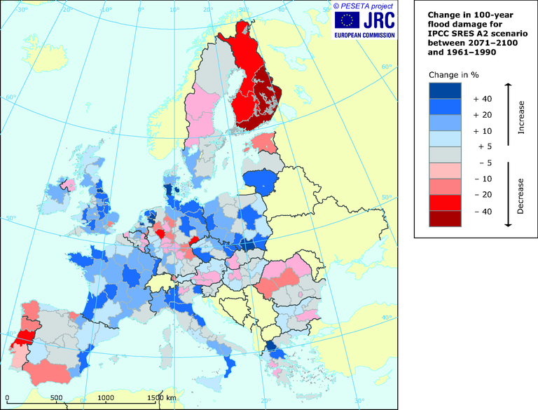 map 7.2 climate change 2008 - change in 100-year flood.eps ...  Year Flood Map on