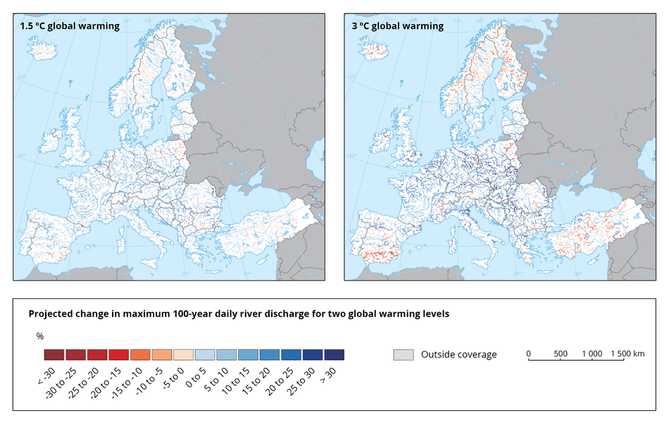 Projected change in maximum 100-year daily river discharge for two global warming levels