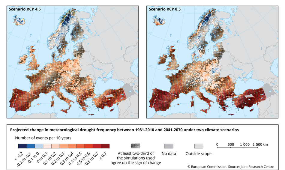 Projected change in meteorological drought frequency between the present (1981-2010) and the mid-century 21st century (2041-2070) in Europe, under two emissions scenarios