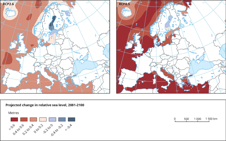 Projected change in relative sea level, 2081-2100