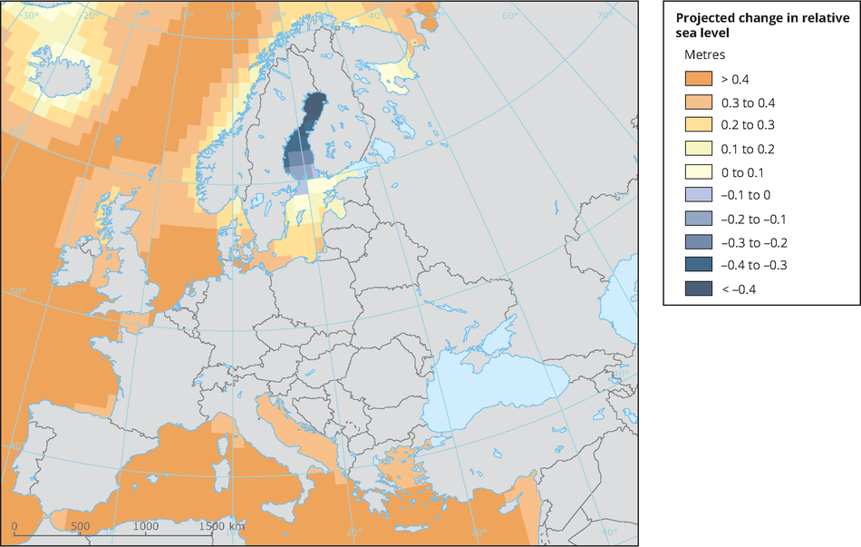 Global And European Sea Level European Environment Agency - Projected sea level rise map
