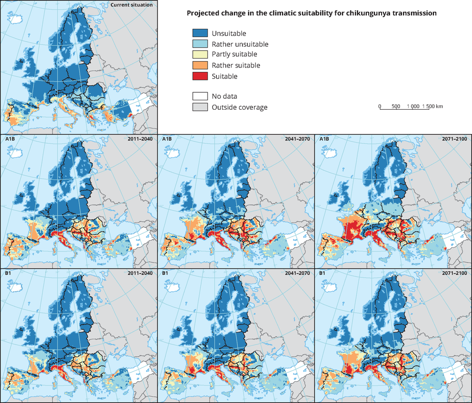 Projected change in the climatic suitability for Chikungunya transmission