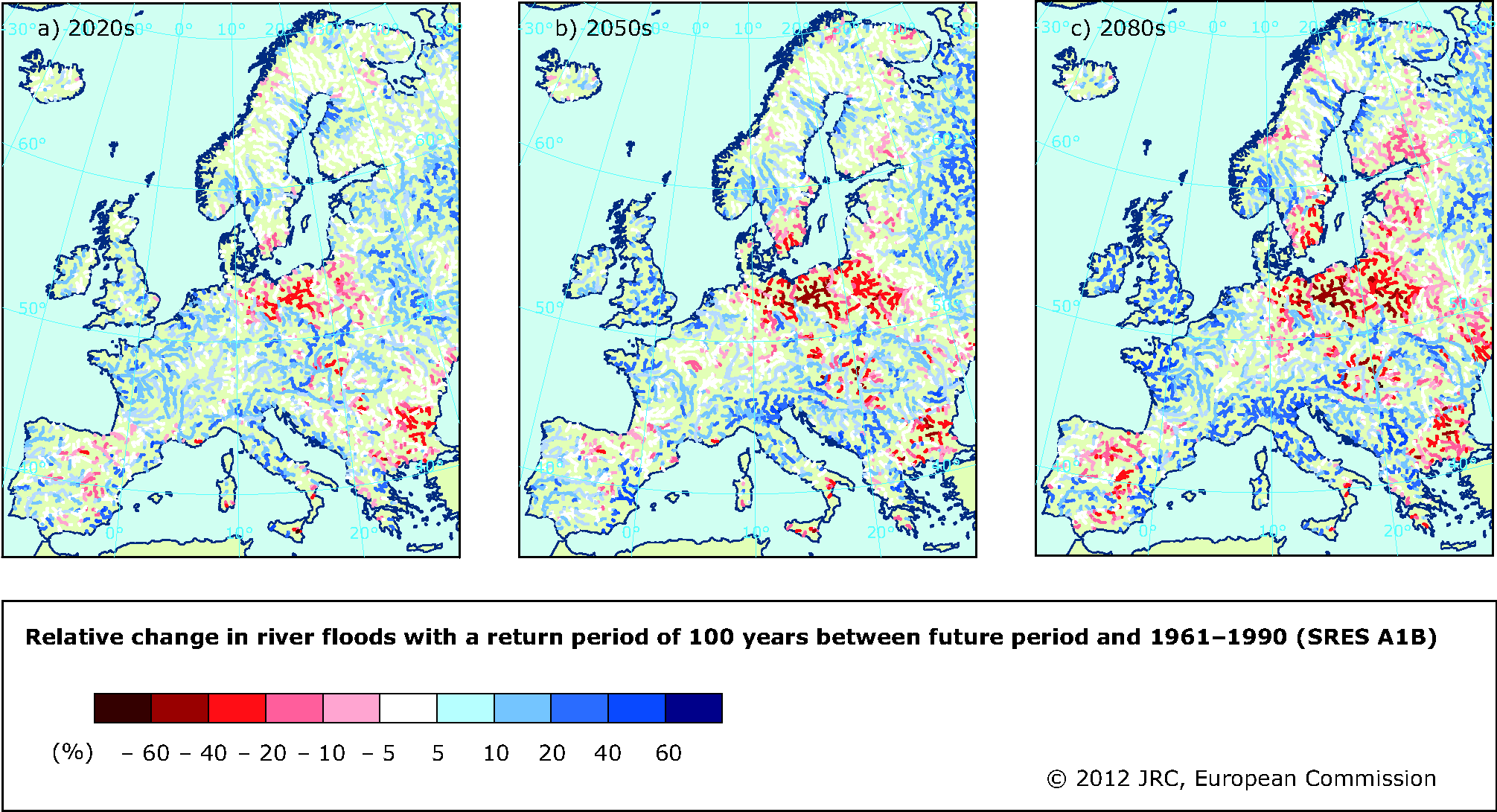 Projected change in river floods with a return period of 100 years