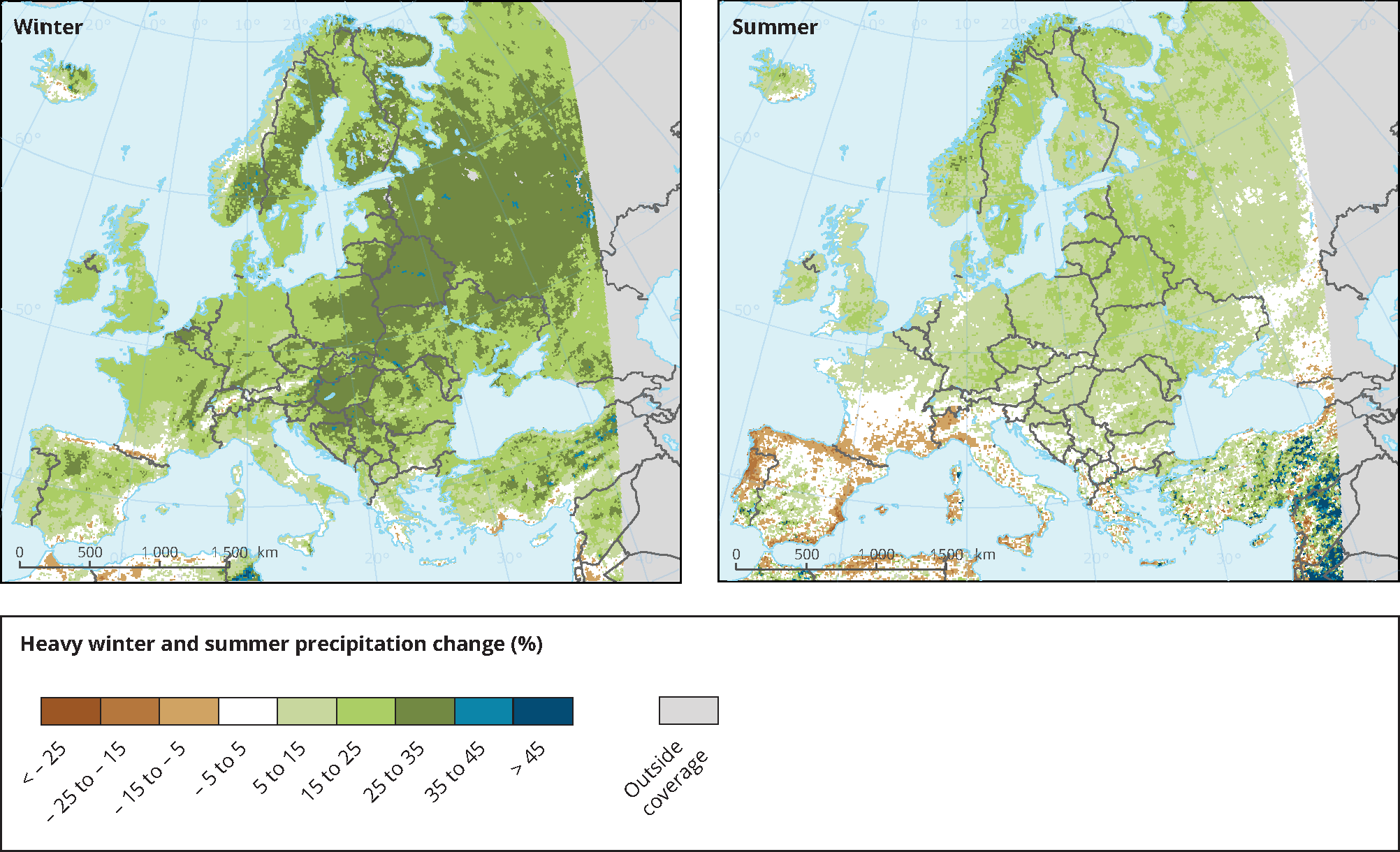 Projected changes in heavy precipitation in winter and summer