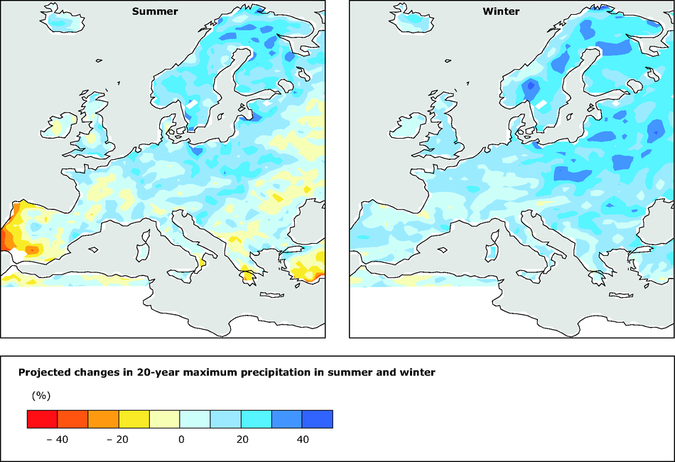 Projected changes in 20-year maximum precipitation in summer and winter