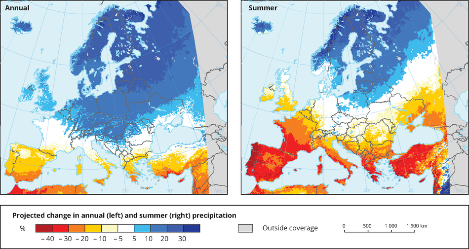 Projected change in annual and summer precipitation