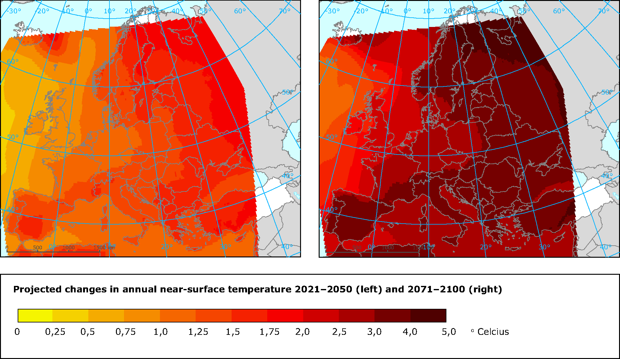 Projected changes in annual near-surface temperature for periods 2021–2050 and 2071–2100