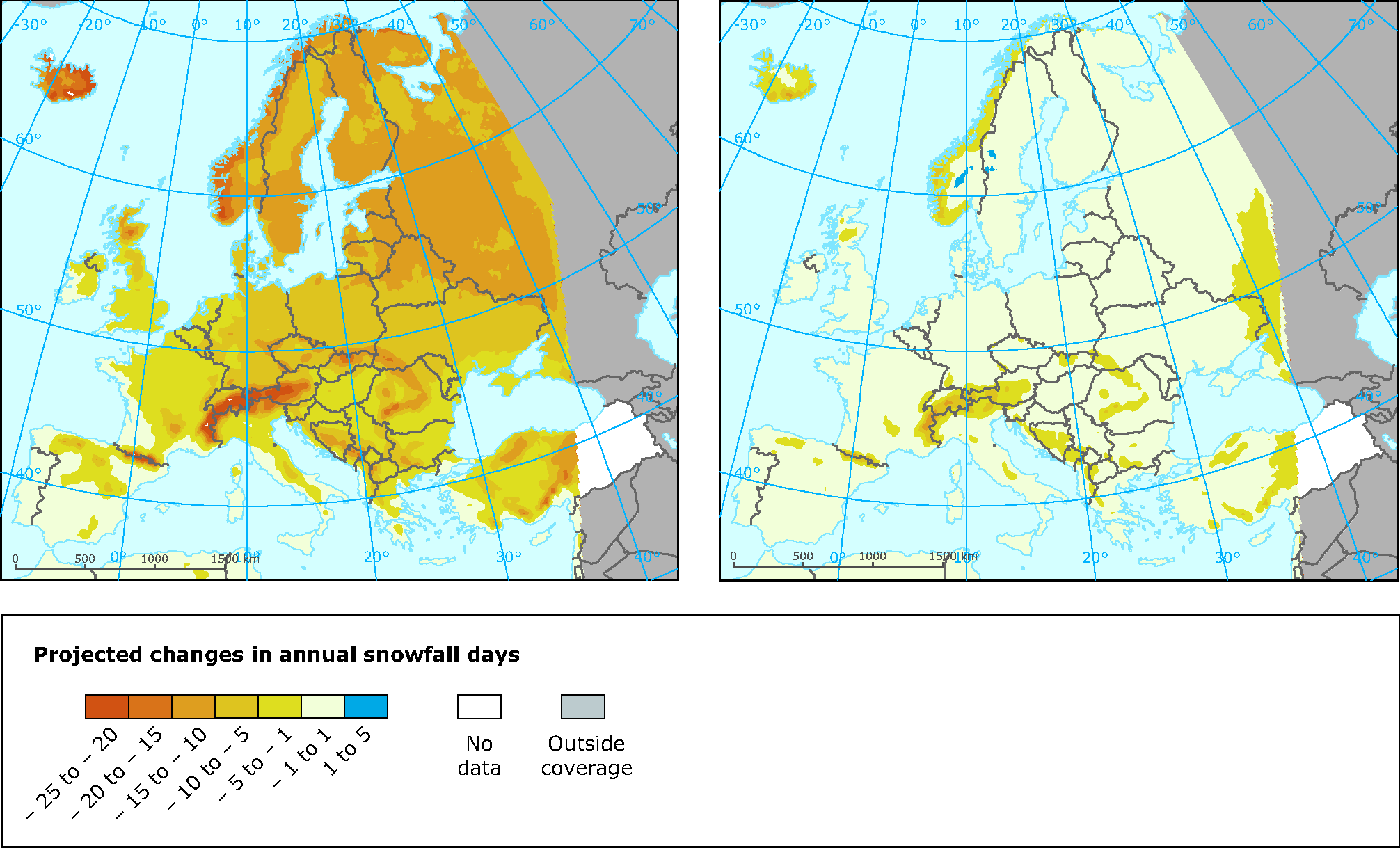 Snow Map Europe.Projected Changes In Annual Snowfall Days European Environment Agency