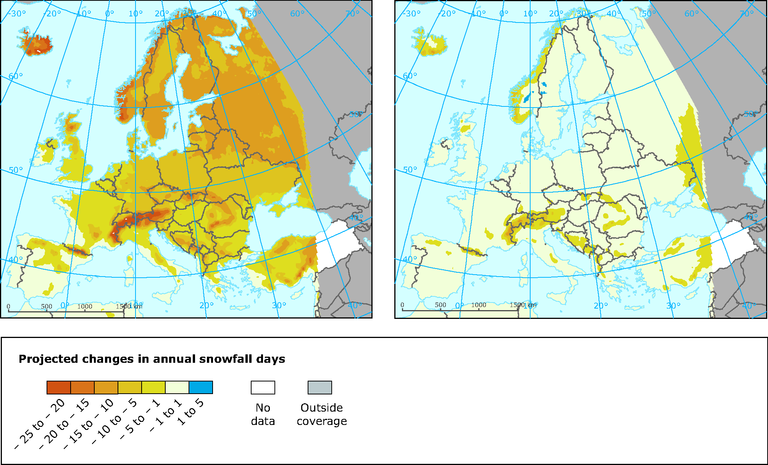 Snow Cover Map Europe.Projected Changes In Annual Snowfall Days European Environment Agency