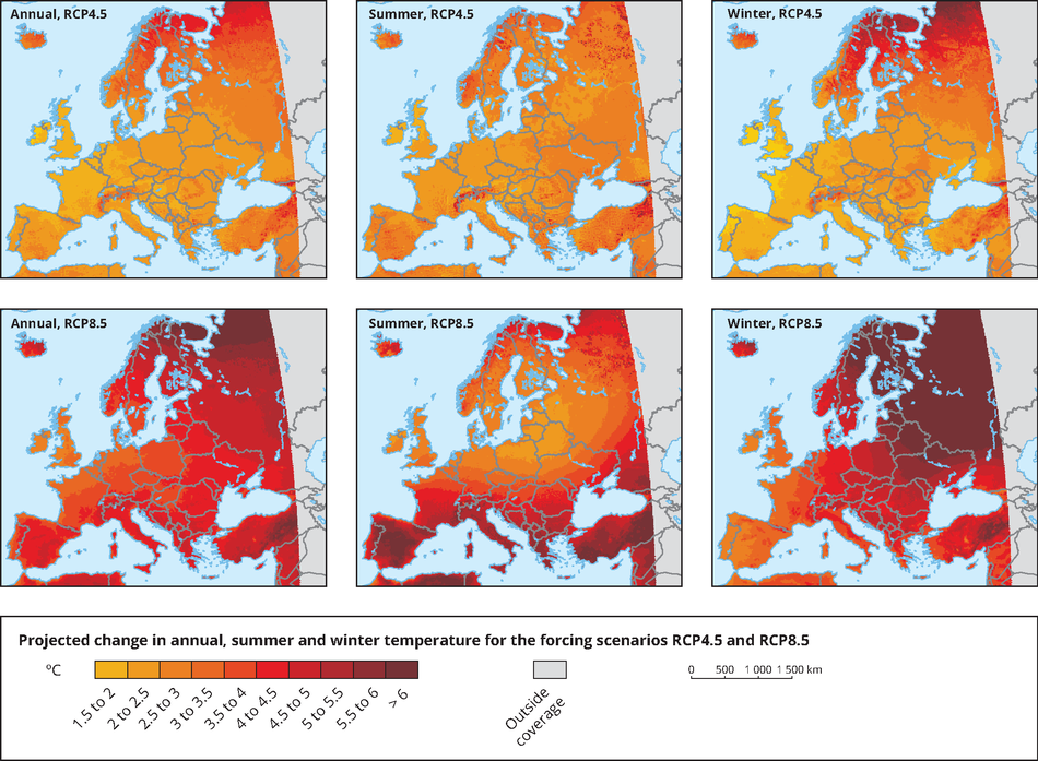 Global and european temperature european environment agency projected changes in annual summer and winter temperature gumiabroncs Image collections