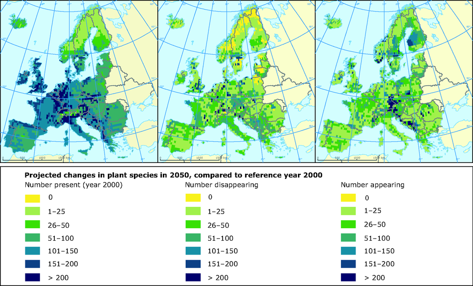 Projected changes in number of plant species in 2050