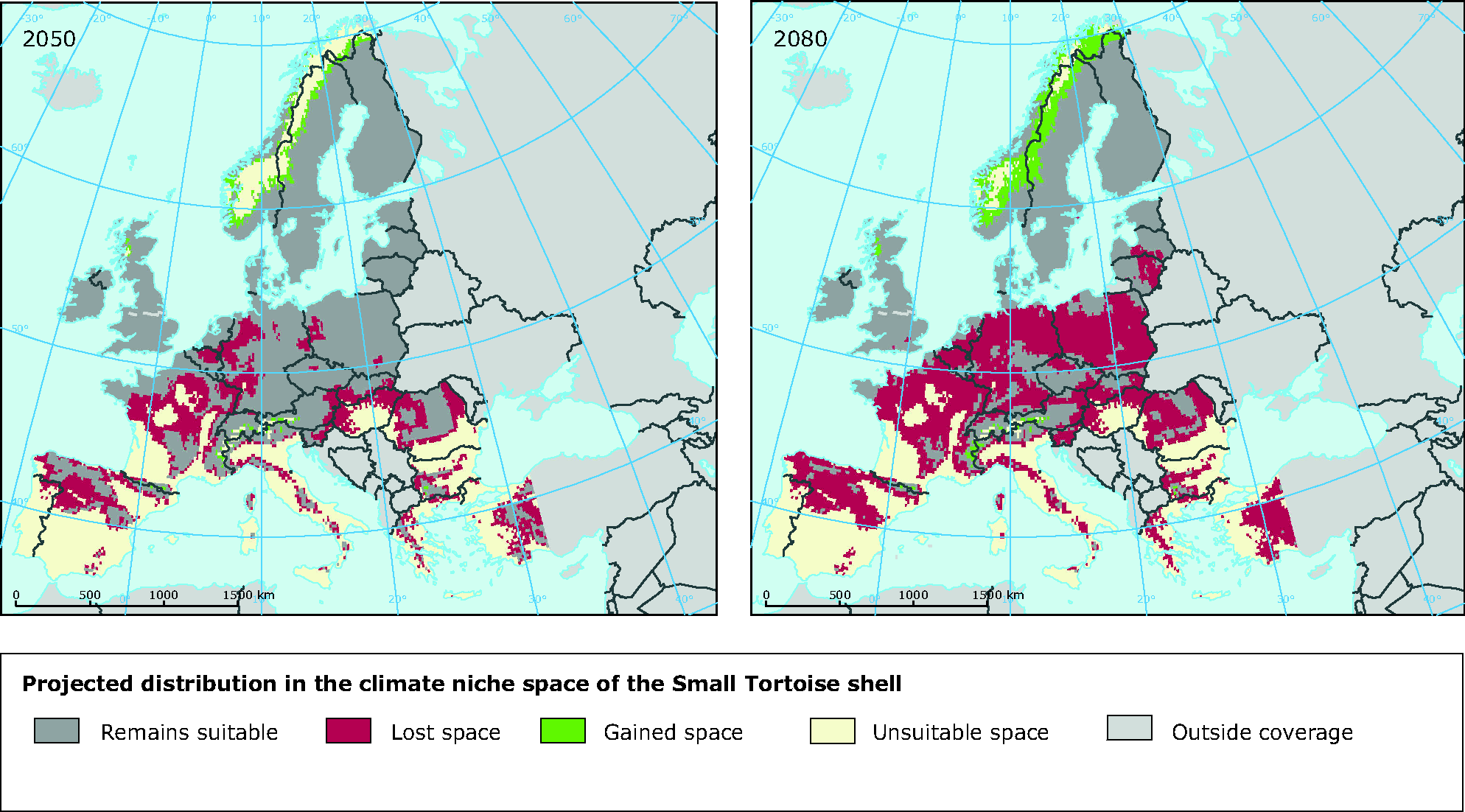 Projected changes in the climate niche space of the Small Tortoise shell