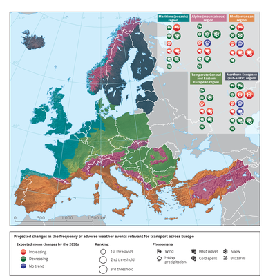Projected changes in the frequency of adverse weather events relevant for transport across Europe