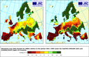 Projected crop yield changes between the 2080s and the reference period 1961-1990 by two different models