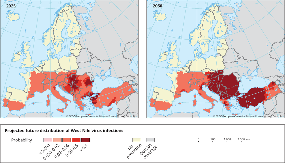 Projected future distribution of West Nile Virus infections