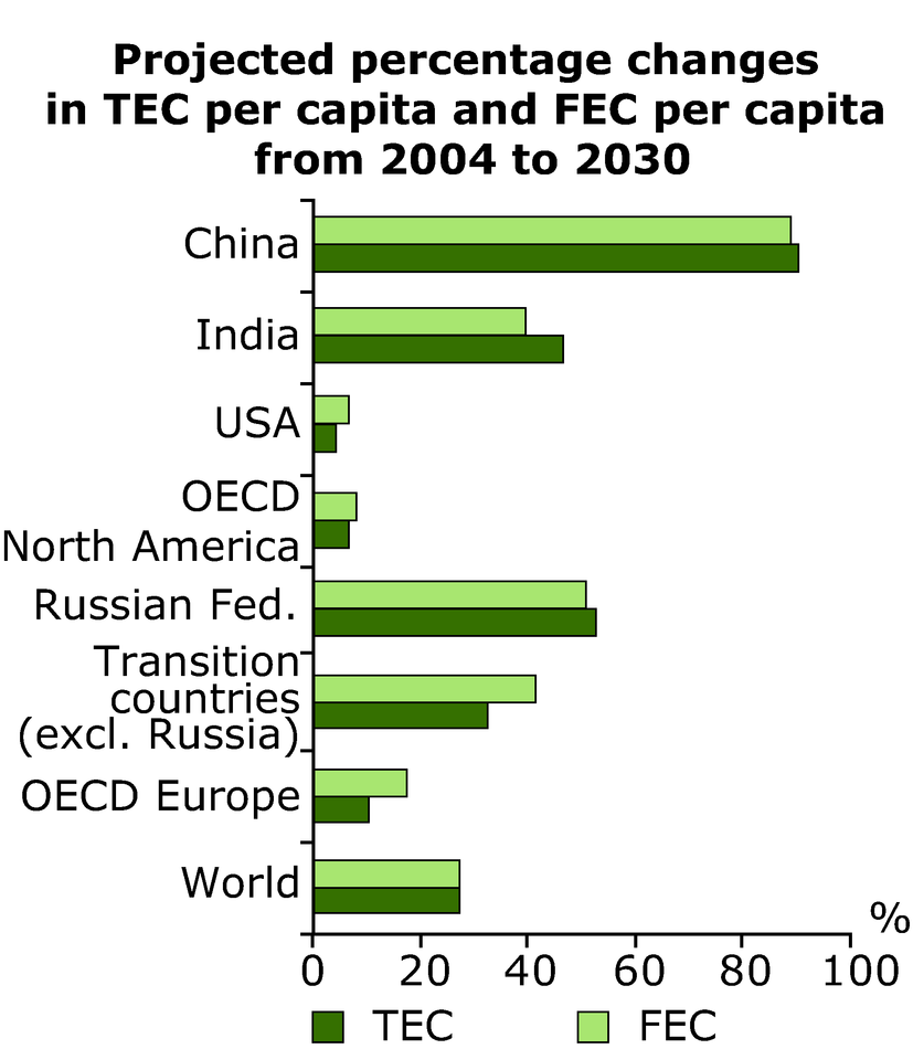 Projected percentage changes in TEC per capita and FEC per capita from 2004 to 2030