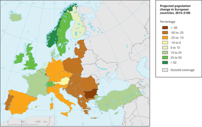 Projected population change in European countries, 2015 to 2100