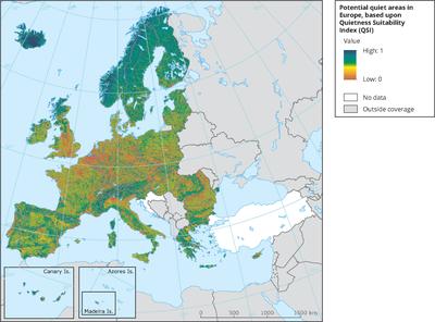 Potential quiet areas in Europe based upon the quietness suitability index (QSI)